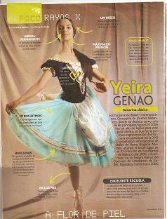 Yeira Genao en la seccion Rayos X de la revista Pandora ( Periodico El Caribe)